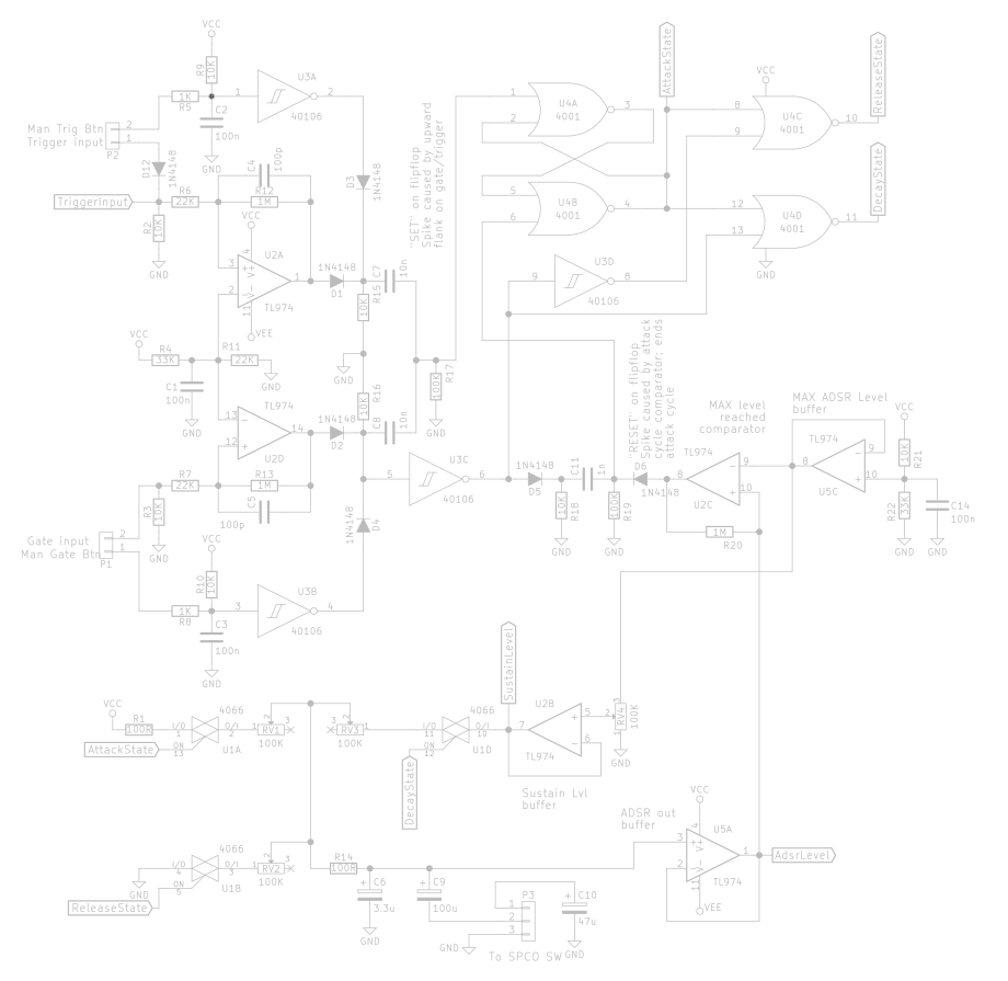 Adsr Envelope Generator Module Synth Diy With Mich Synthesizer Wiring Diagram The Full Circuit Without Additions By Yours Truly
