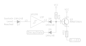 Logic for the Decay LED comprised of diode, inverter, and discrete and gate made of diodes and resistor