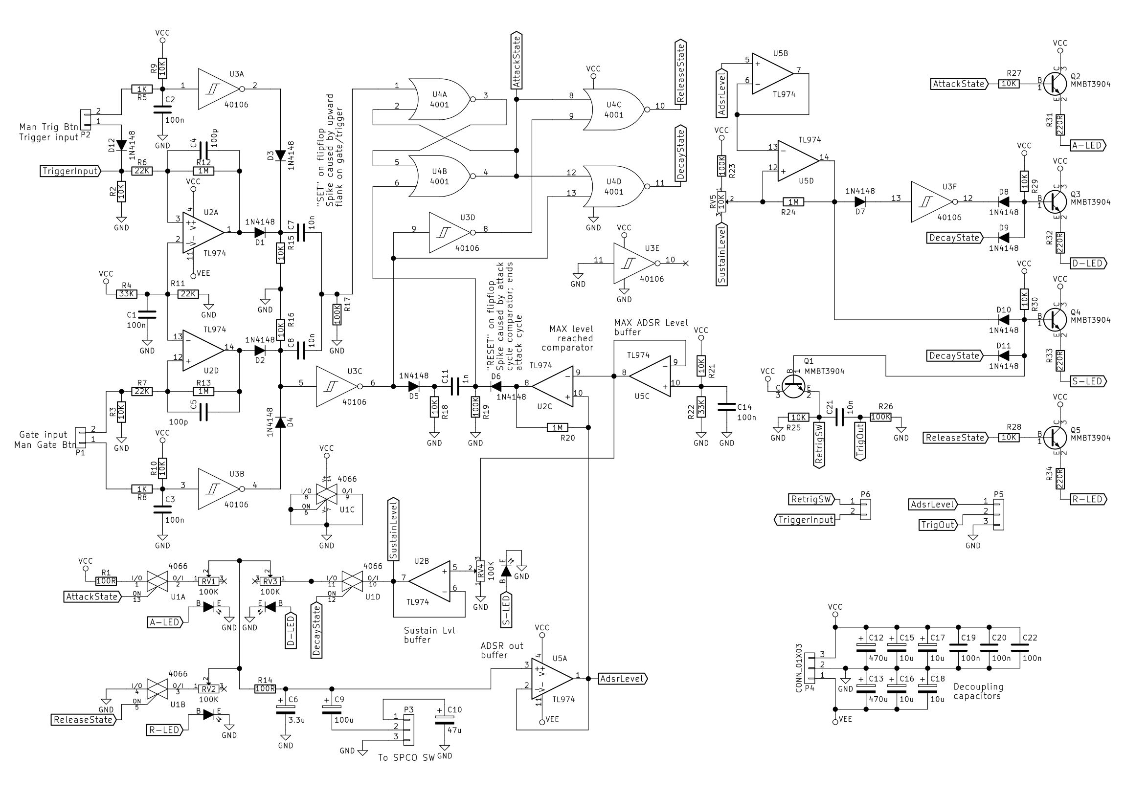 Adsr Envelope Generator Module Synth Diy With Mich Wiring Diagrams Euro Rack Full Circuit Diagram