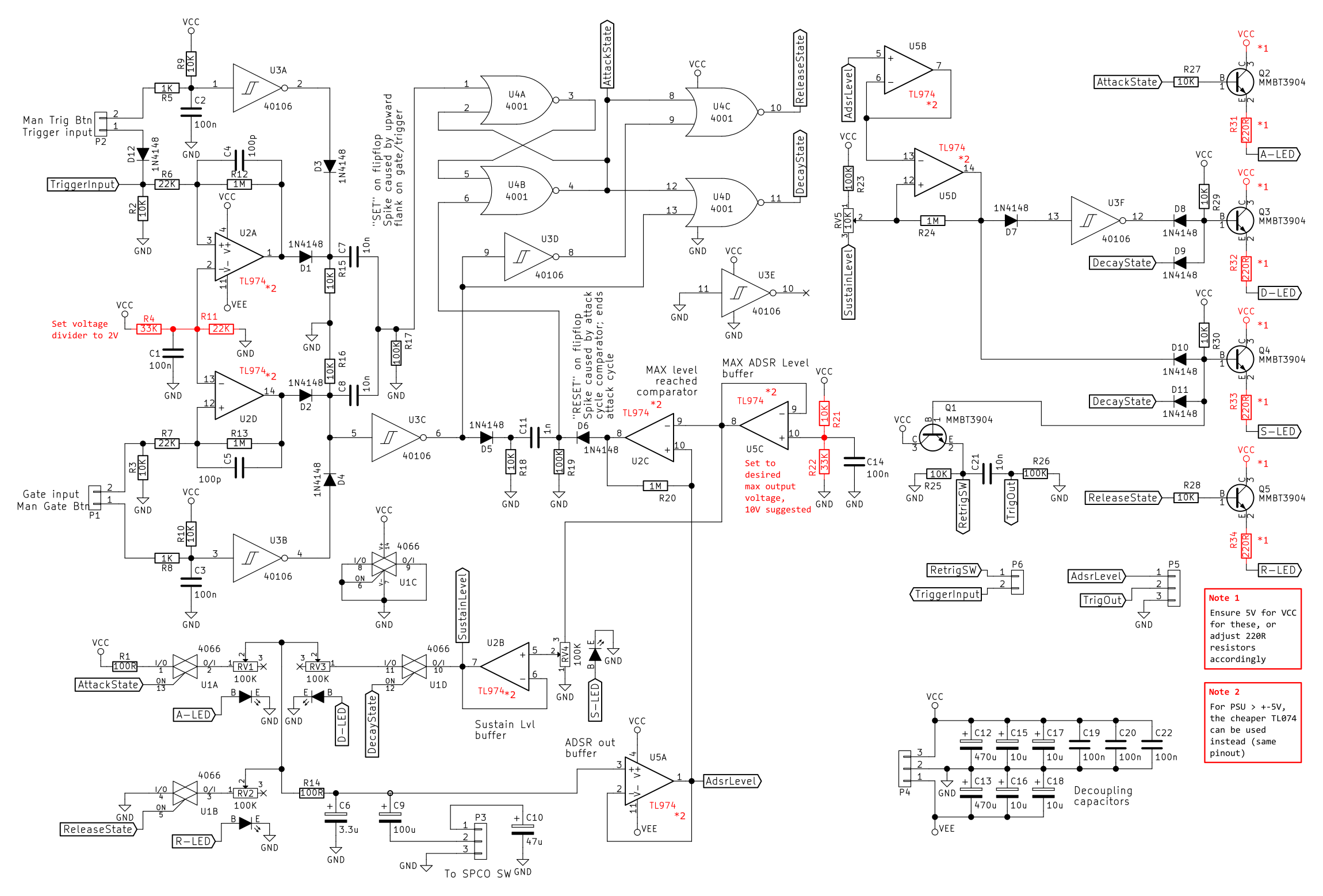 555 Timer Helpers Schematic Adsr Envelope Generator Module Synth Diy With Mich The Complete Circuit Pointing Out Components That Need Value Changes When Using A Different