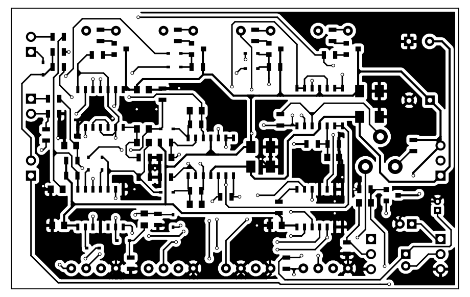 Black on white view of the bottom copper layer of the PCB