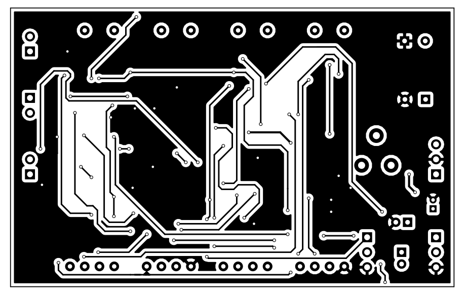 Black on white view of the top copper layer of the PCB