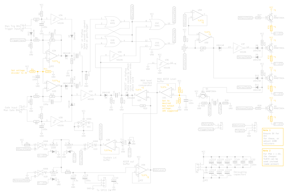 The complete circuit, with pointing out components that need value changes when using a different supply voltage
