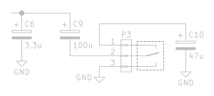 3 Capacitors and a switch to change their configuration